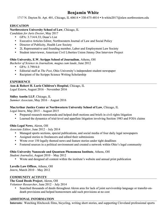 judicial clerkship cover letter